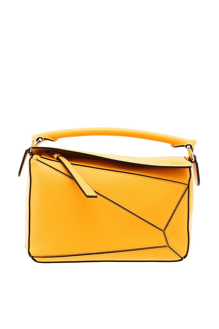 Желтая кожаная сумка Puzzle
