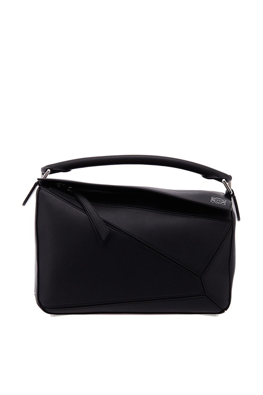 Черная кожаная сумка Puzzle