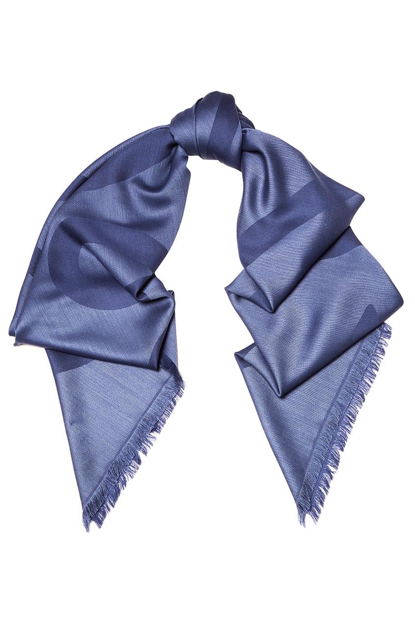 Синий шерстяной шарф