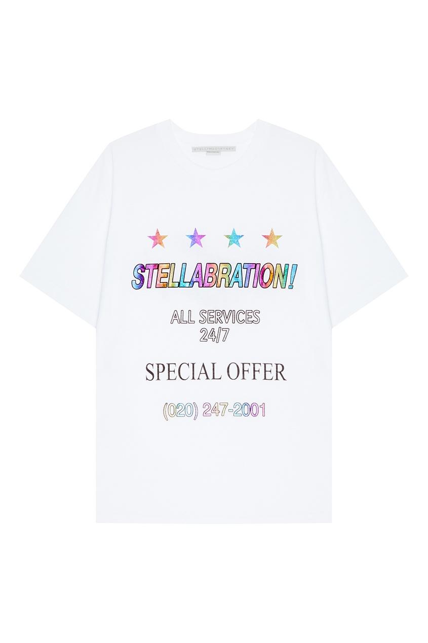 Stella McCartney Хлопковая футболка с цветной надписью stella mccartney белая футболка со звездами