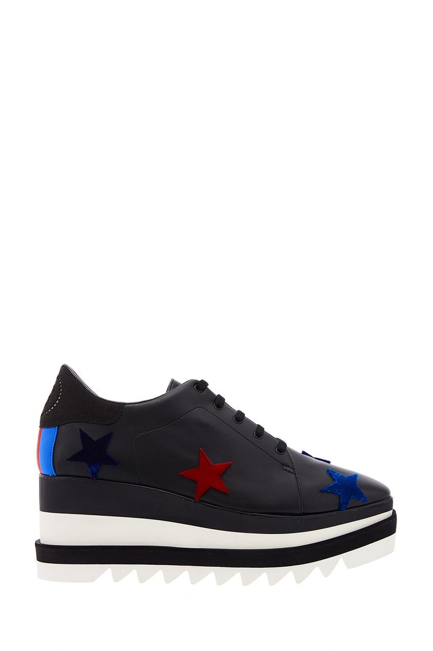 Stella McCartney Черные ботинки с бархатными звездами stella mccartney белая футболка со звездами