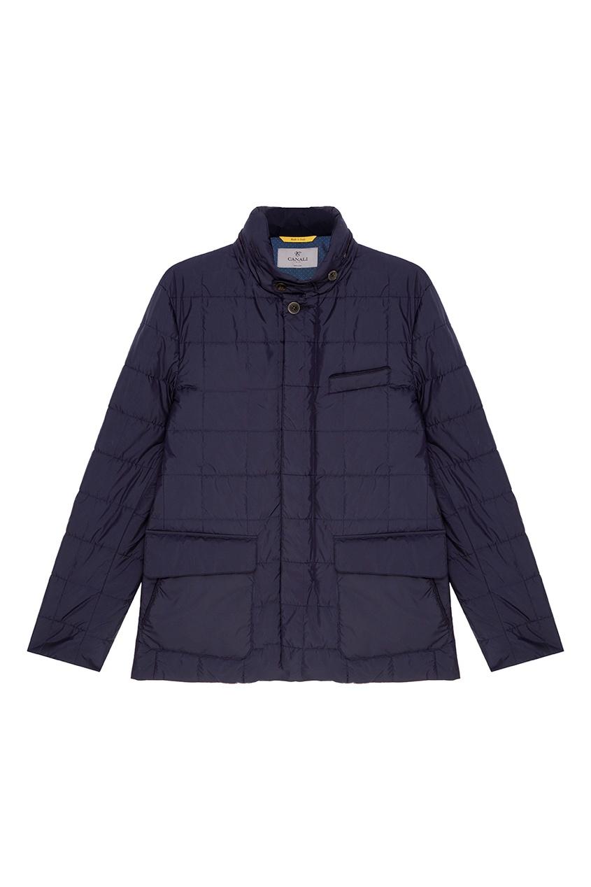 Купить Черная стеганая куртка от Canali синего цвета