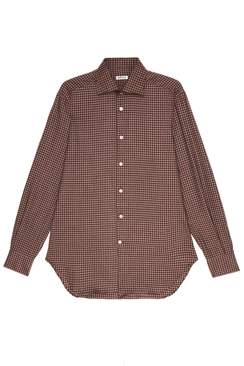 Купить Коричневая рубашка в клетку от KITON коричневого цвета