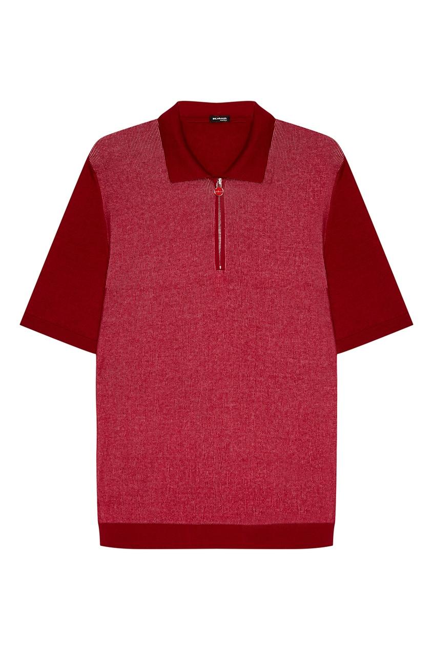 Купить Бордовое поло из хлопка от KITON красного цвета