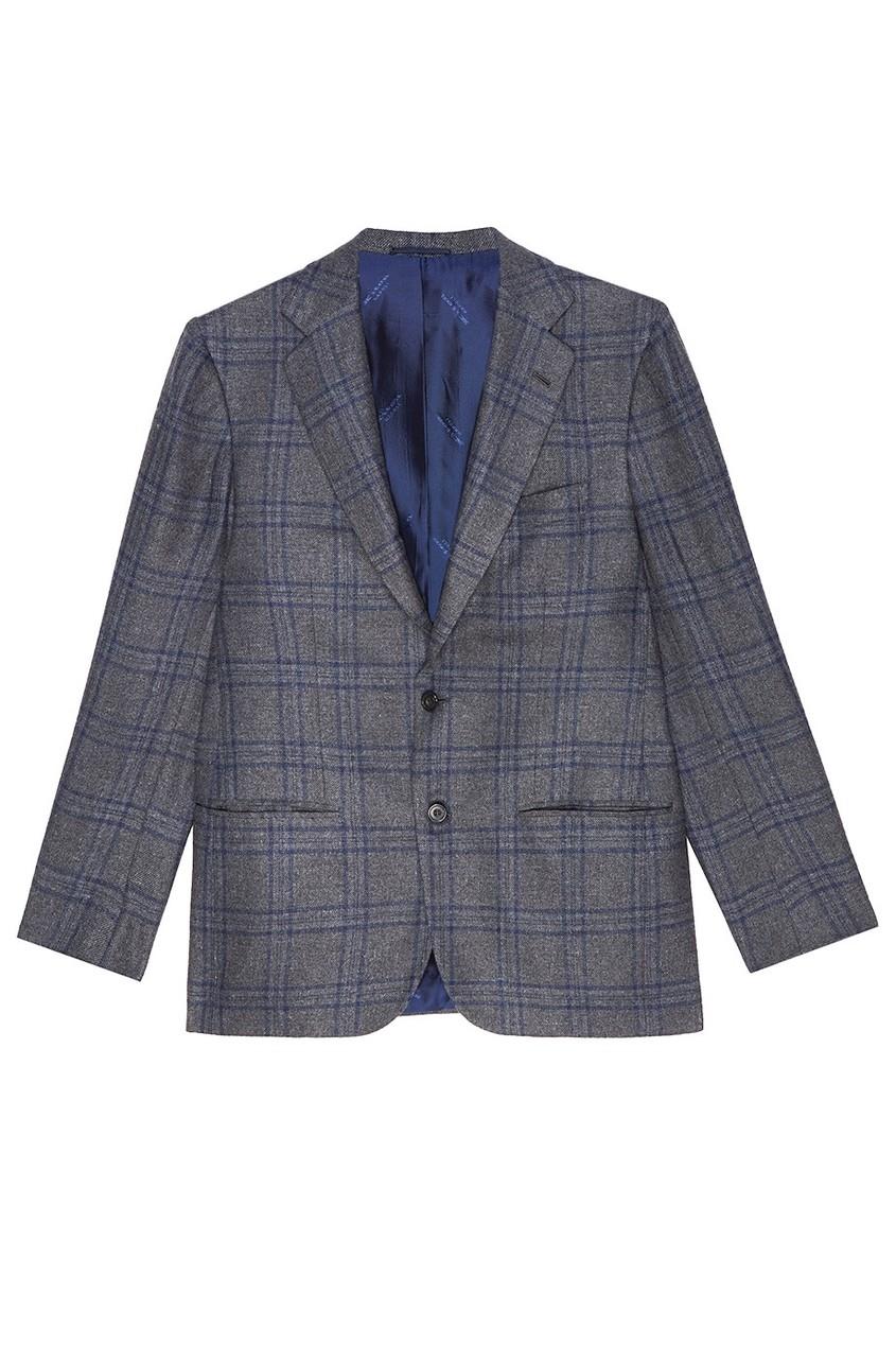 Серый пиджак в клетку Kiton