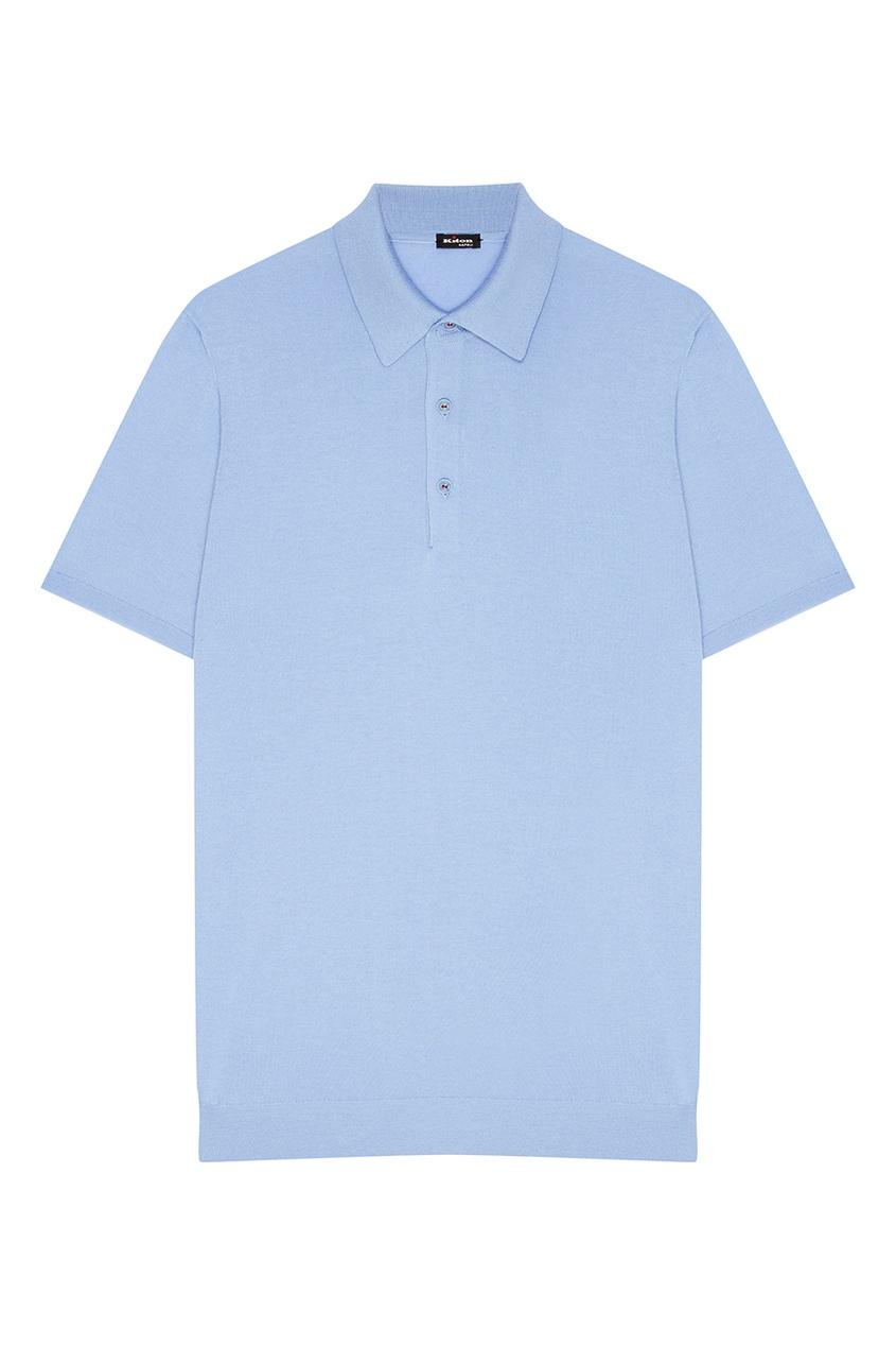 Купить Голубое хлопковое поло от KITON голубого цвета