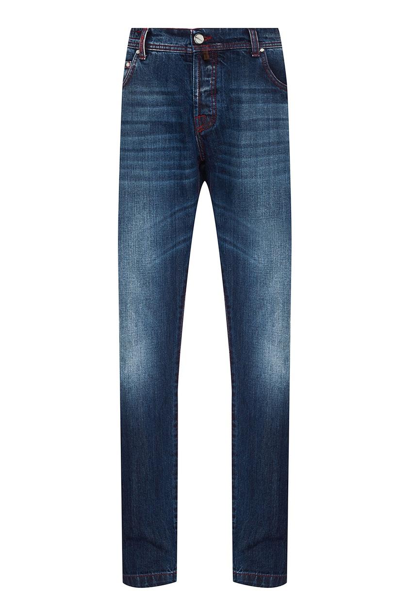 Купить Укороченные синие джинсы от KITON синего цвета