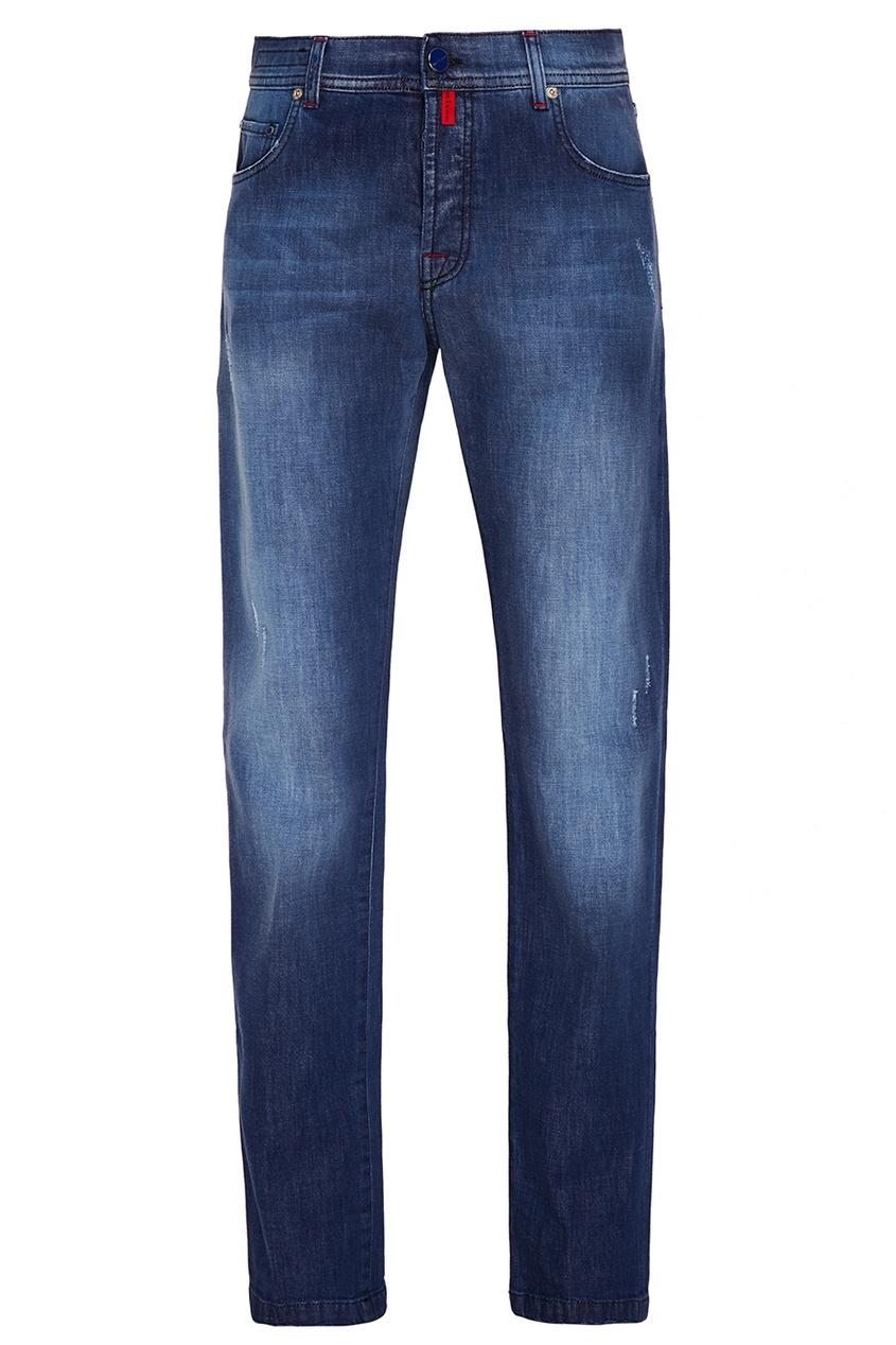 Купить Синие джинсы с цветными пуговицами от KITON синего цвета