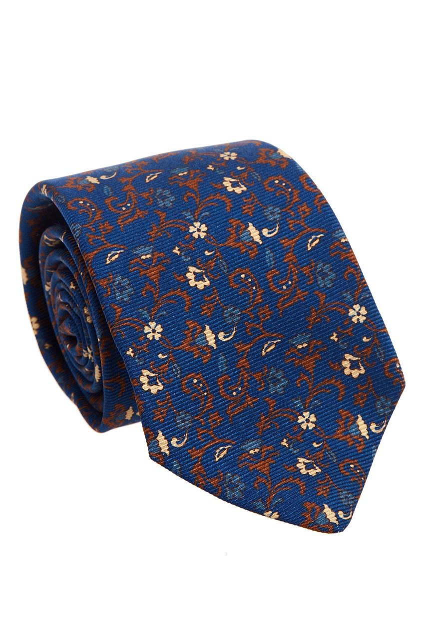 Шелковый галстук с цветочным орнаментом