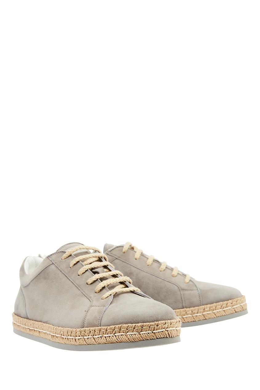 Замшевые ботинки с плетеной отделкой от Kiton
