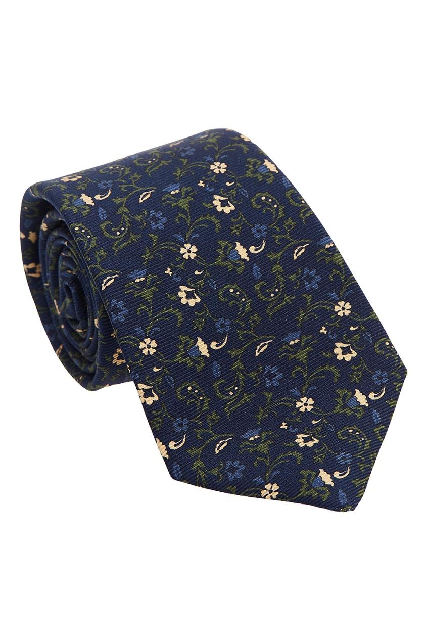 Купить со скидкой Синий галстук с цветочным узором