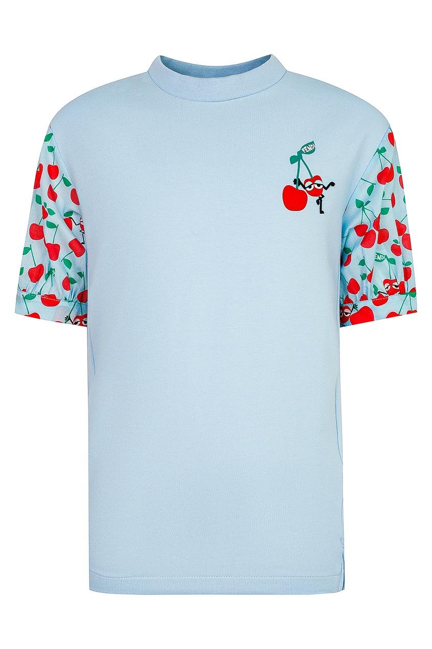 Голубая футболка с аппликацией от Fendi