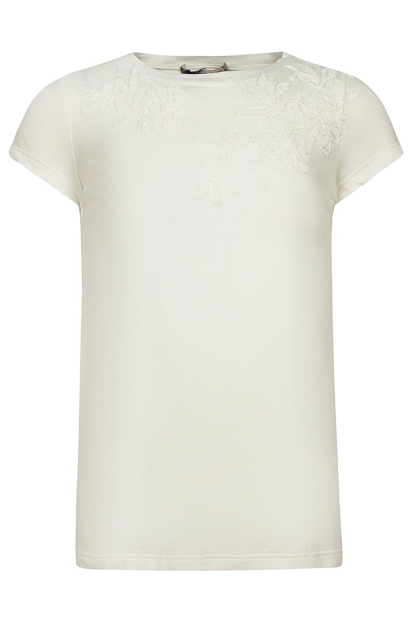 Ermanno Scervino Children Белая футболка с рельефной вышивкой