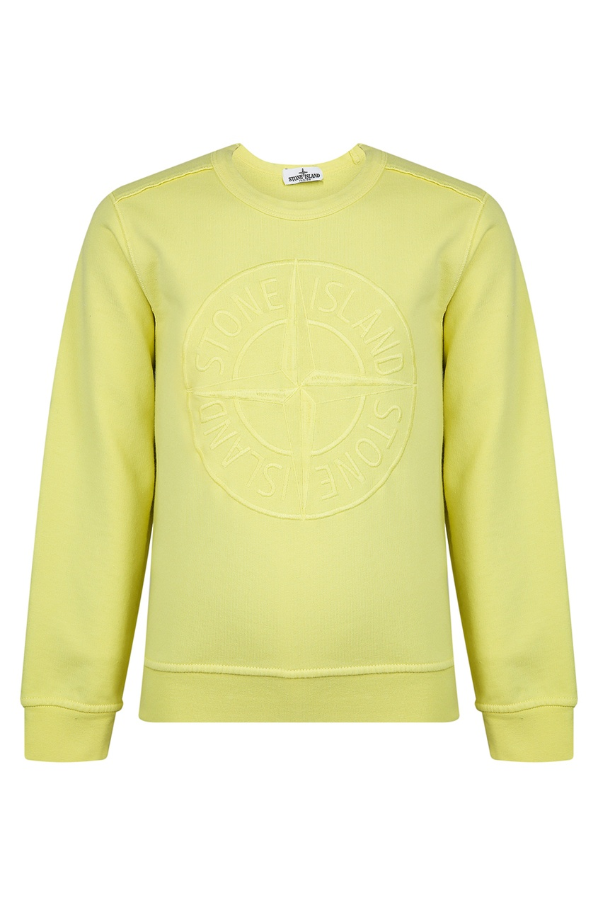 Купить Желтый свитшот с рельефным логотипом от Stone Island Kids желтого цвета