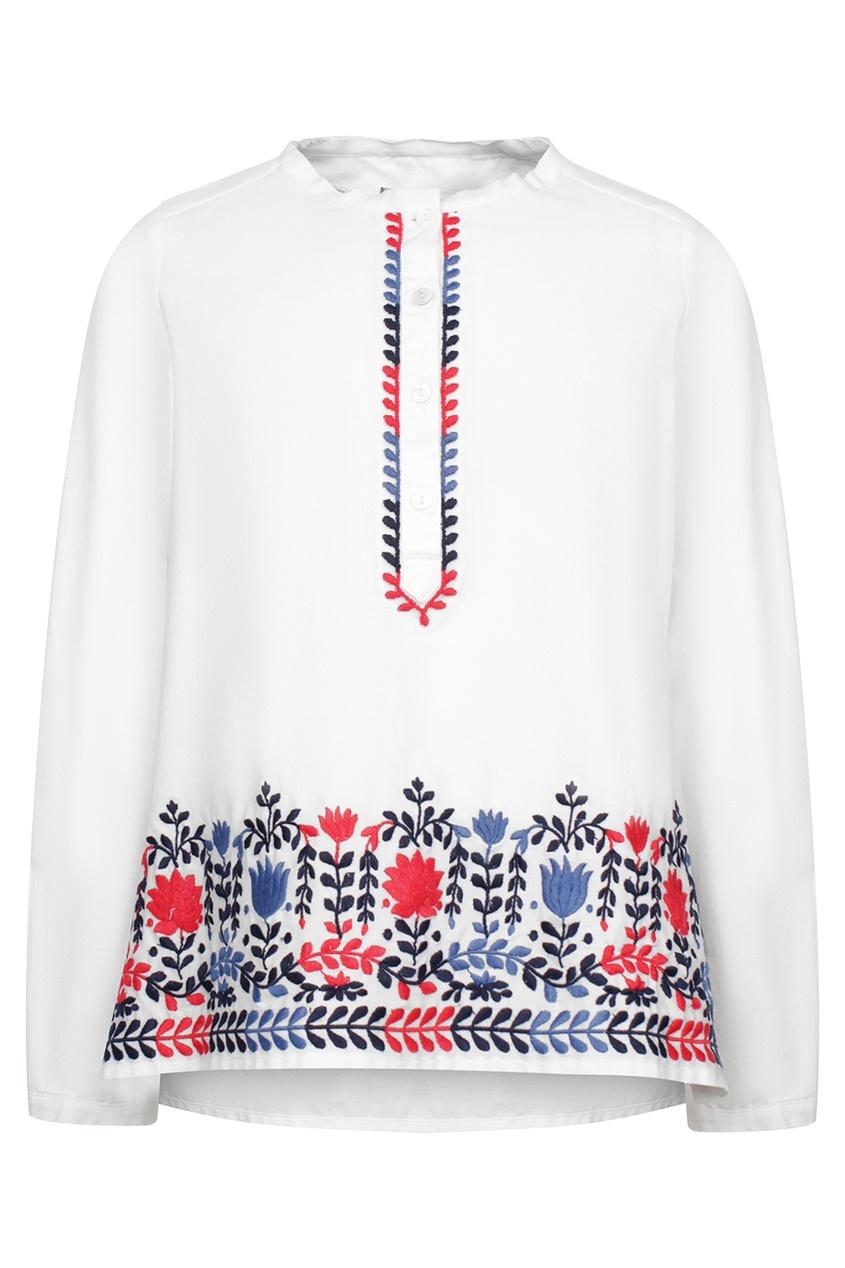 Купить Белая рубашка с вышивкой от Ermanno Scervino Children белого цвета