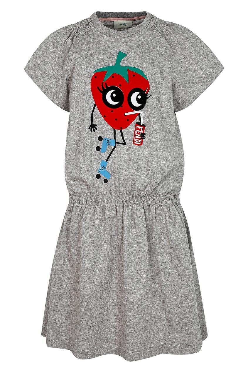 Fendi Children Серое платье с аппликацией