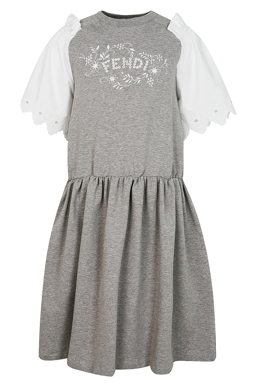 Fendi Children Серое платье с декоративными рукавами