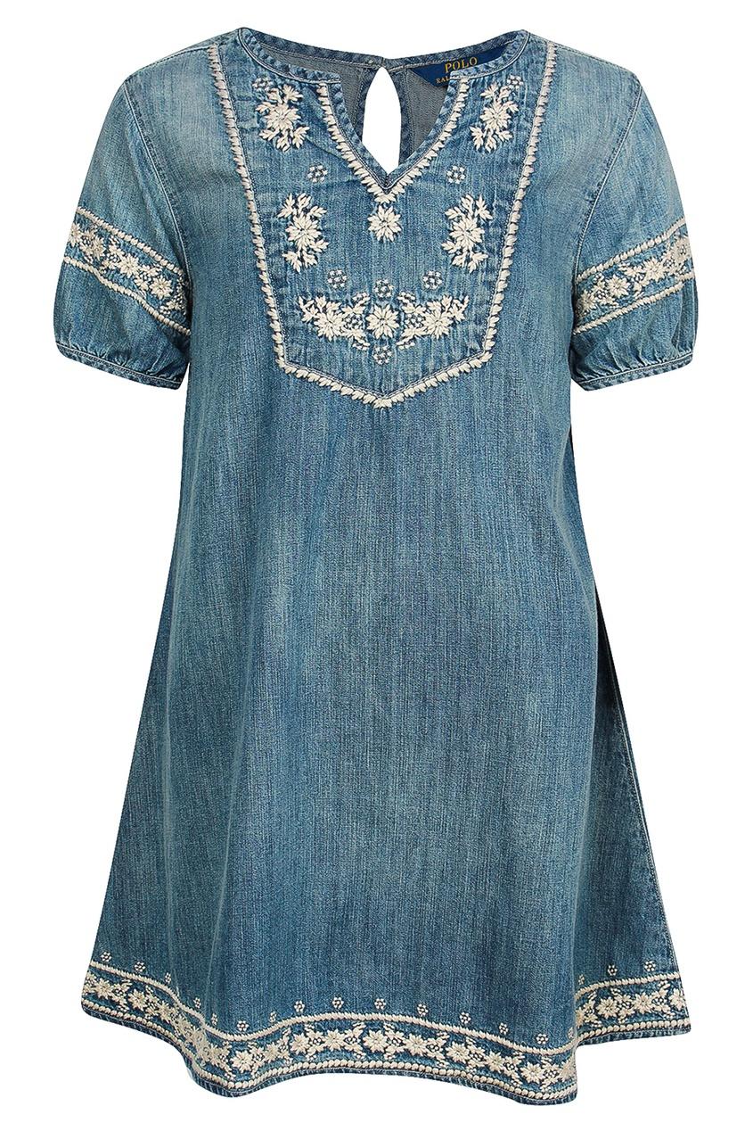 Ralph Lauren Children Джинсовое платье с цветочной вышивкой джинсовое платье quelle ashley brooke by heine 55726