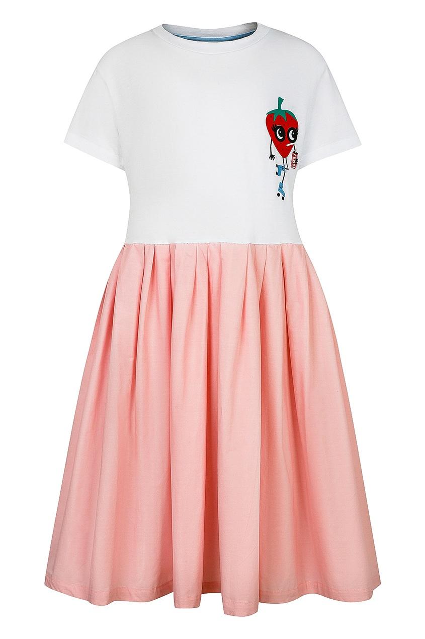 Fendi Children Комбинированное платье с клубникой