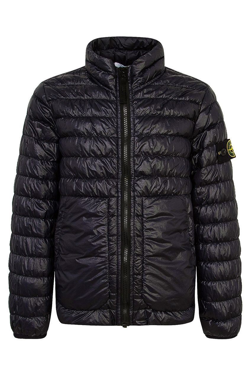 Черная стеганая куртка от Stone Island Kids