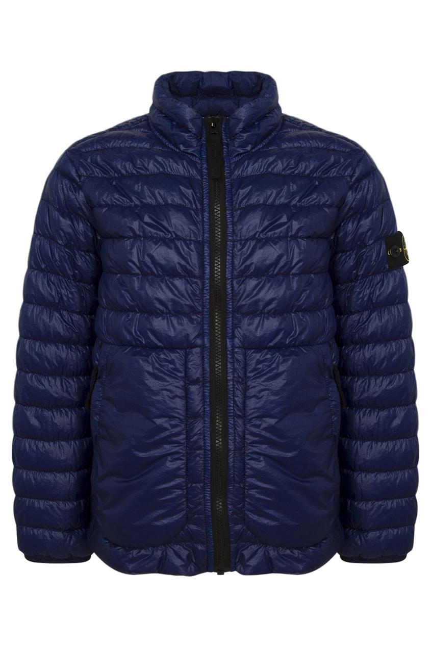 Синяя стеганая куртка от Stone Island Kids