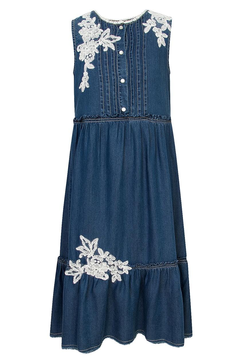 Ermanno Scervino Children Джинсовое платье с вышивкой