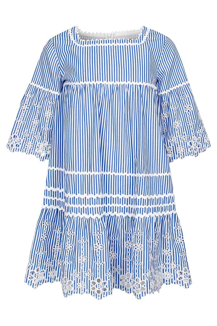 Ermanno Scervino Children Платье в полоску с ажурной отделкой