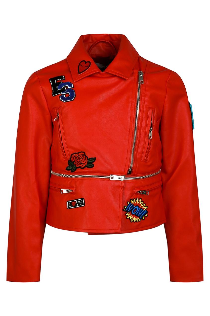 Ermanno Scervino Children Красная куртка с нашивками и молниями