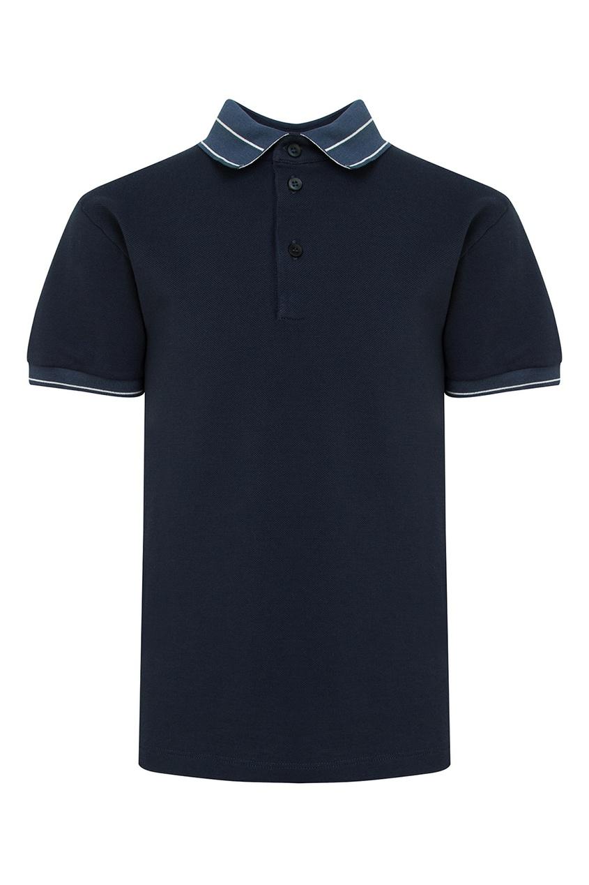 Купить Темно-синее поло с отделкой синего цвета