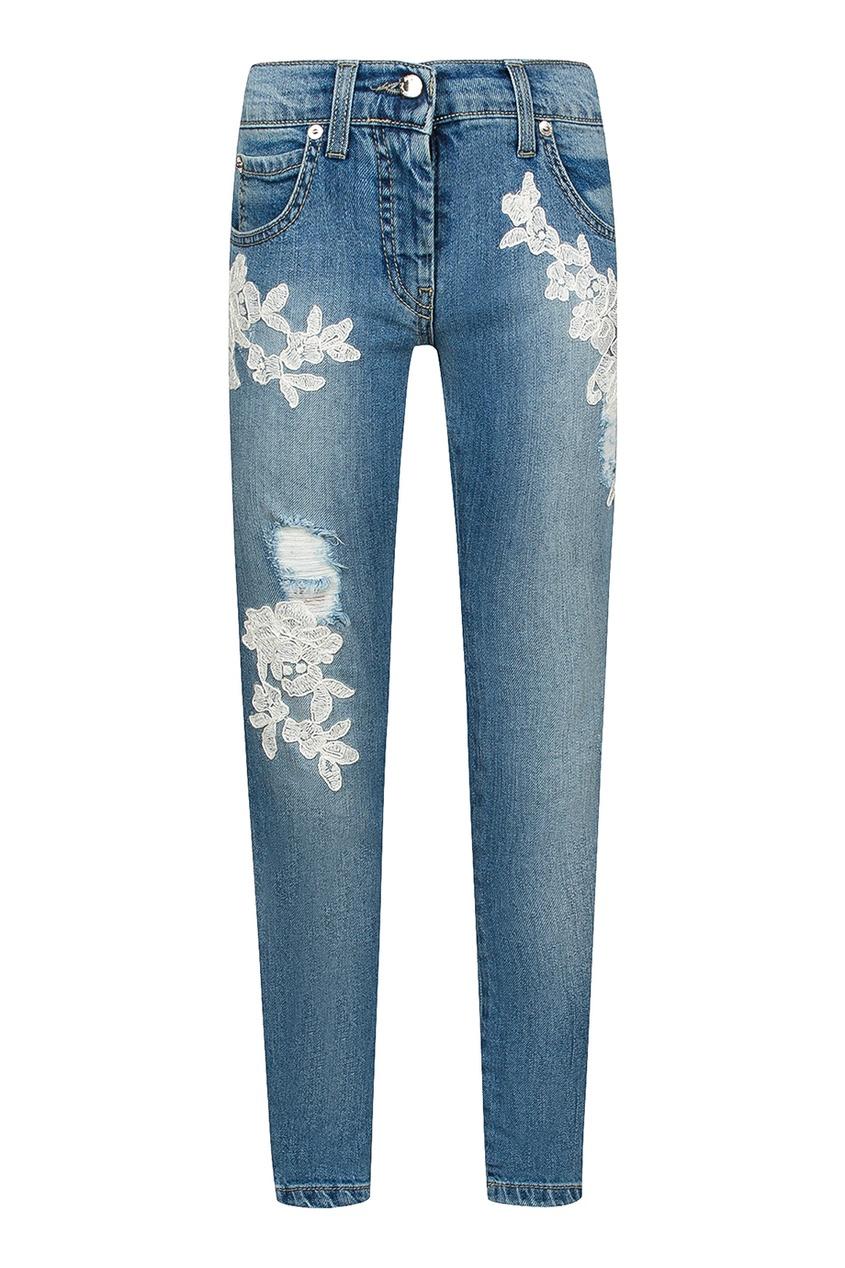 Ermanno Scervino Children Голубые джинсы с вышивкой