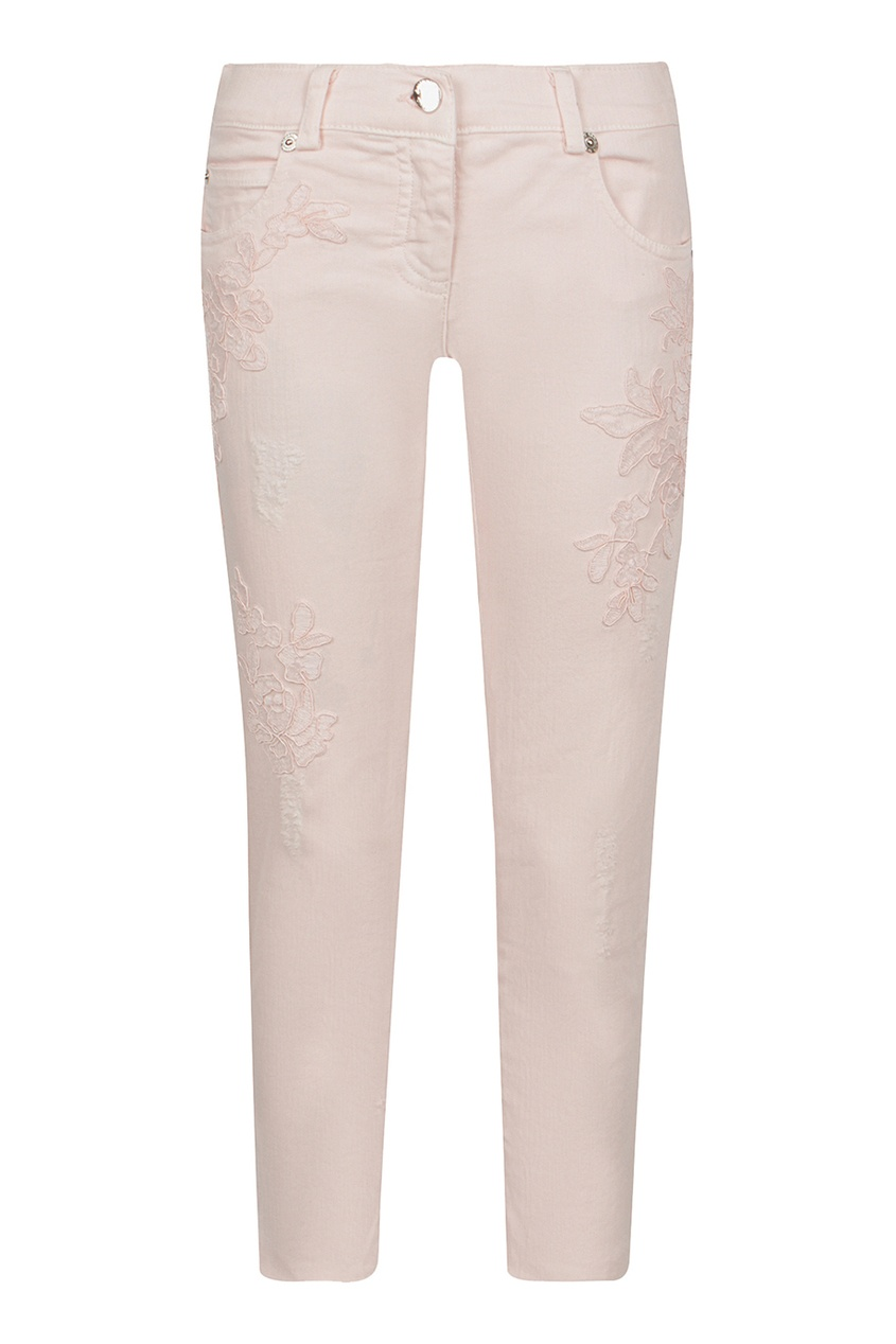 Ermanno Scervino Children Розовые джинсы с вышивкой