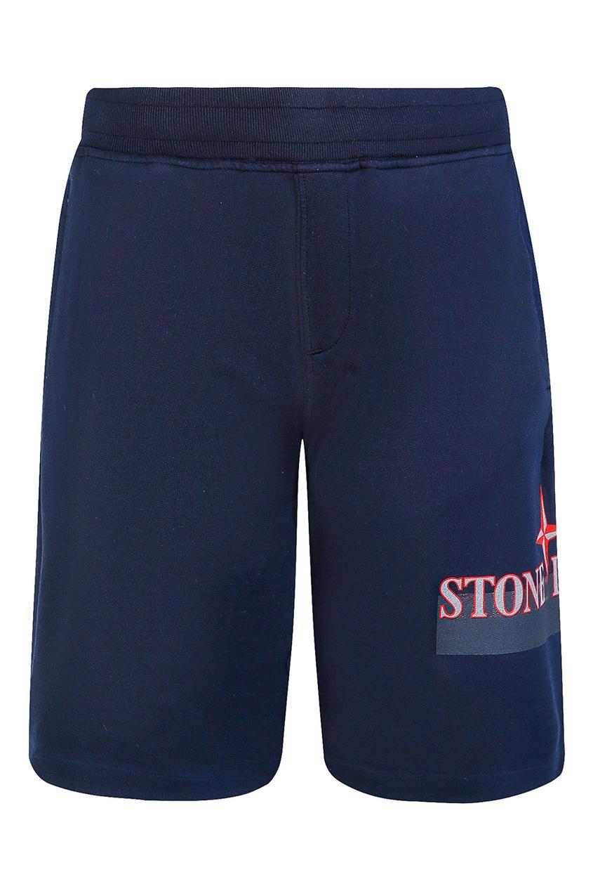 Синие хлопковые шорты от Stone Island Kids