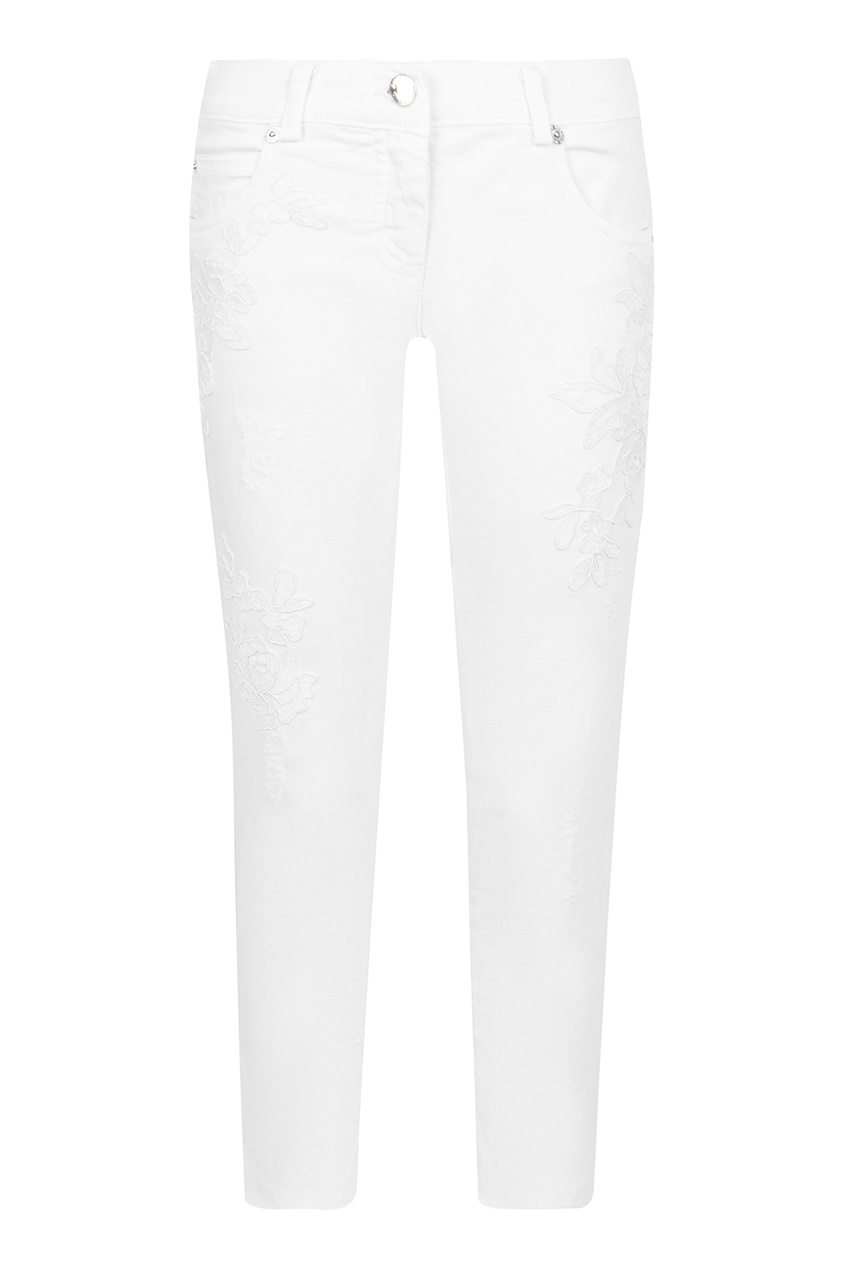 Ermanno Scervino Children Белые джинсы с вышивкой