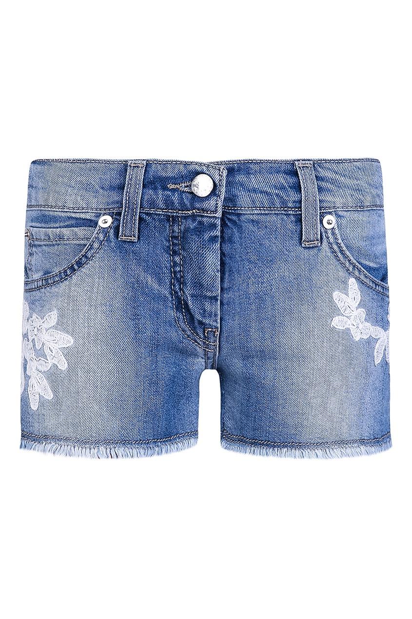 Ermanno Scervino Children Джинсовые шорты с вышивкой