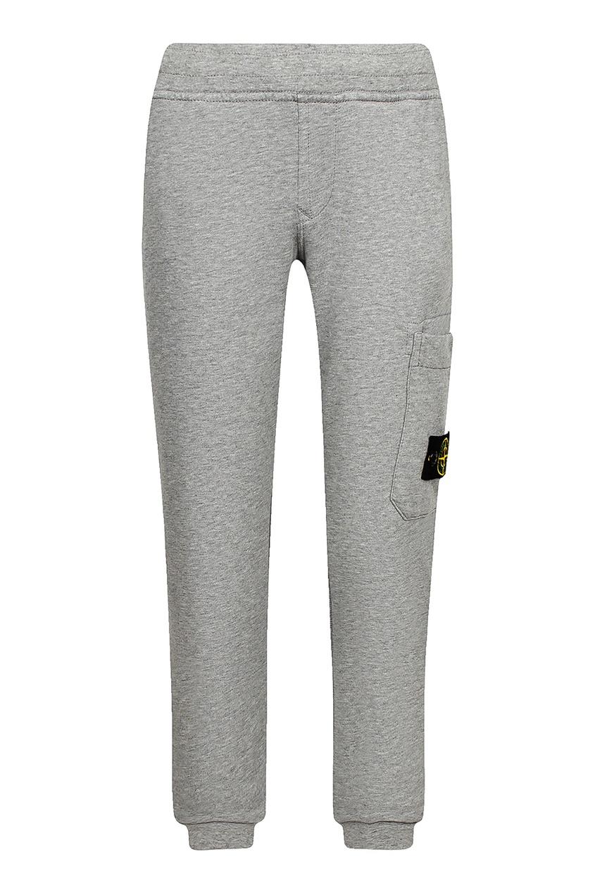 Серые спортивные брюки с карманом от Stone Island Kids