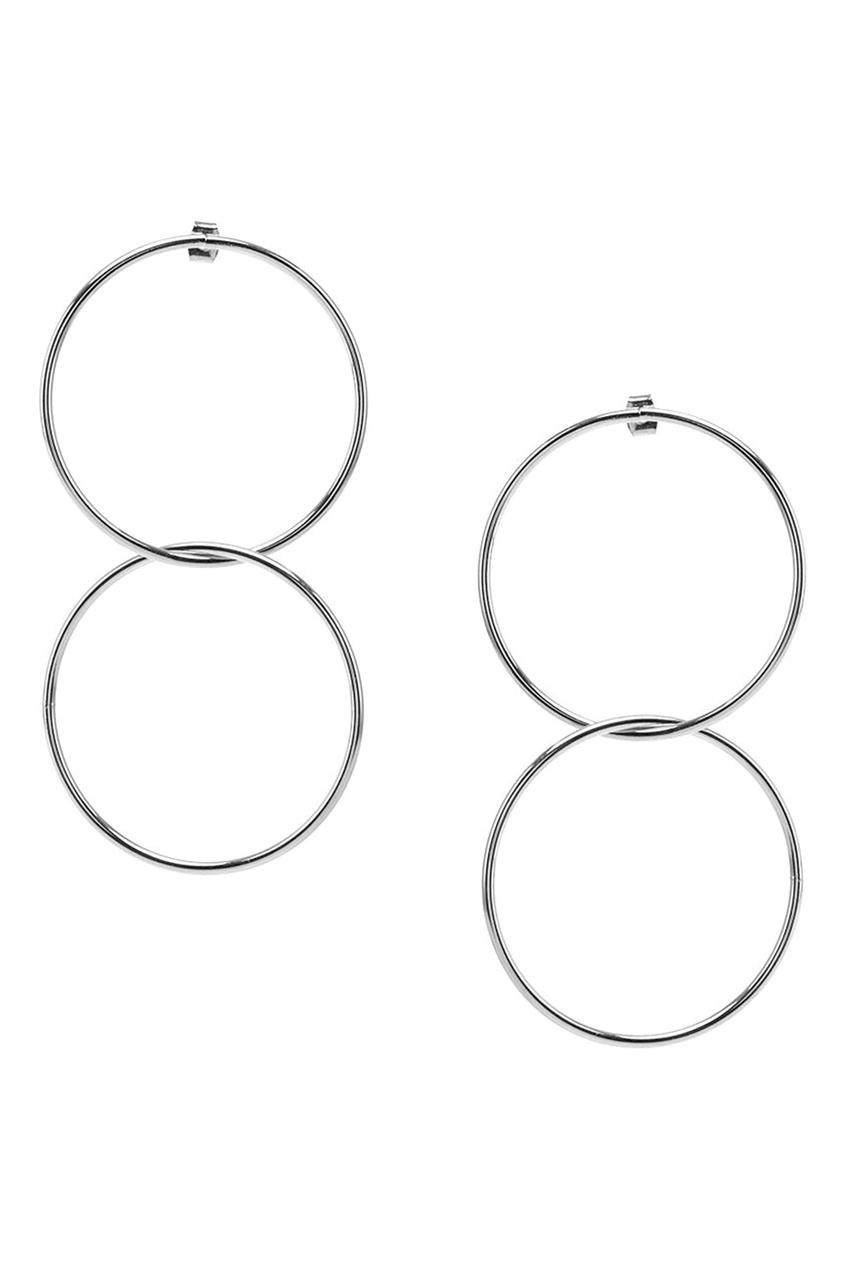 Серебристые серьги с двойными кольцами