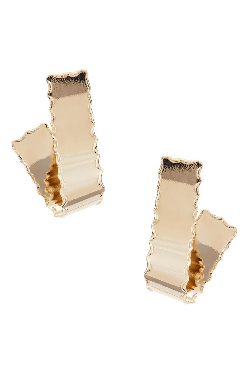 Золотистые серьги-ленты