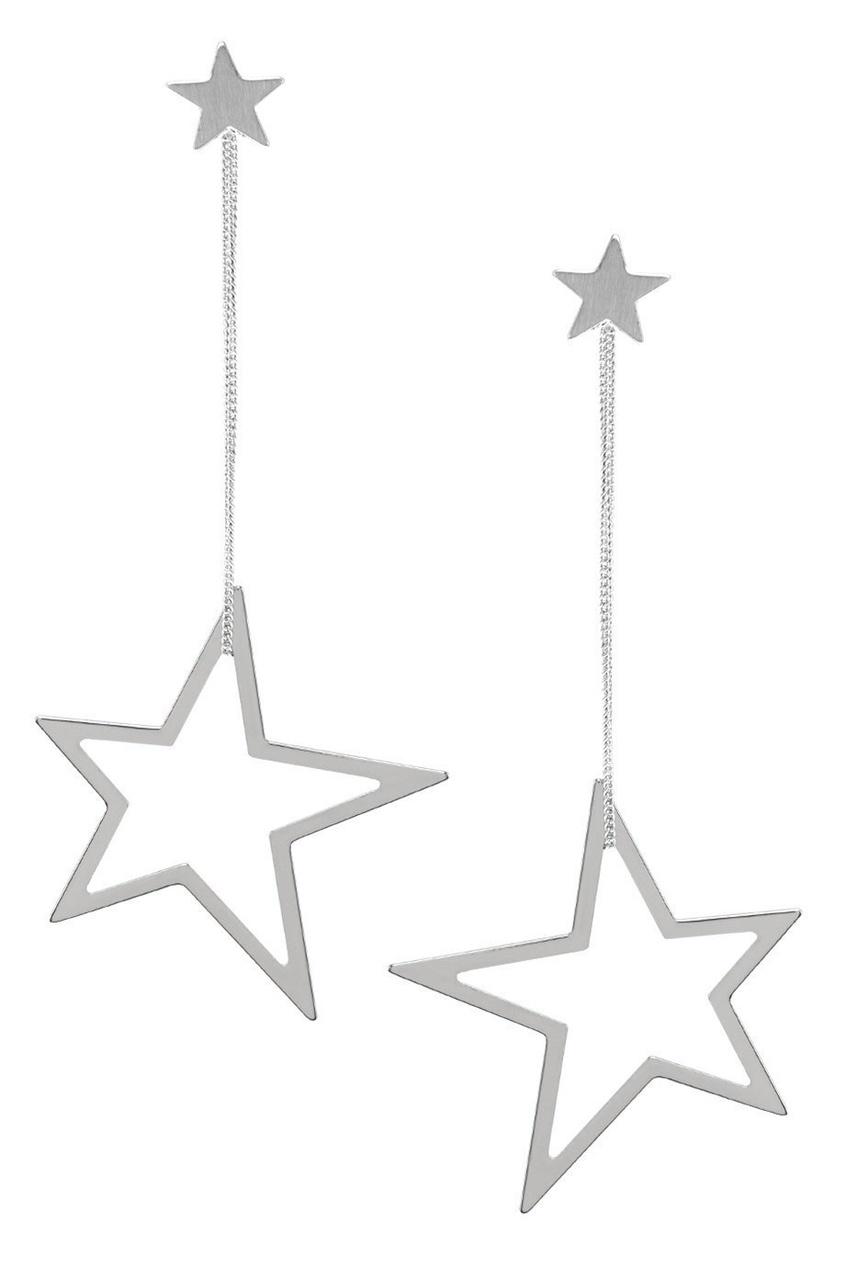 Серебристые серьги-звезды