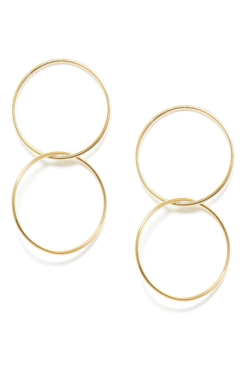 Золотистые серьги с двойными кольцами