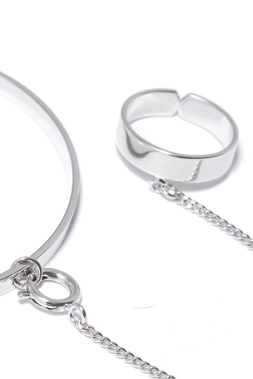 Серебристый браслет с кольцом от Lisa Smith