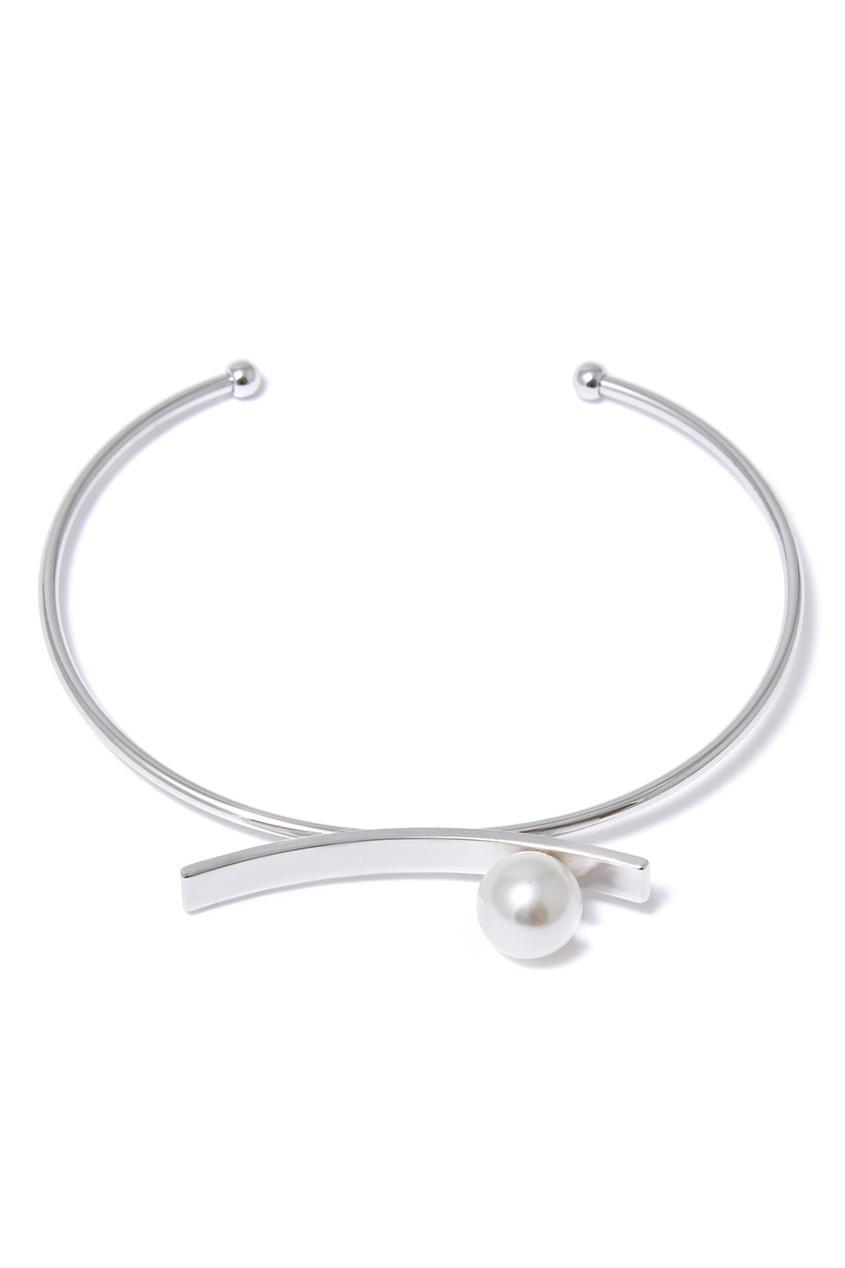 Серебристый браслет с искусственным жемчугом