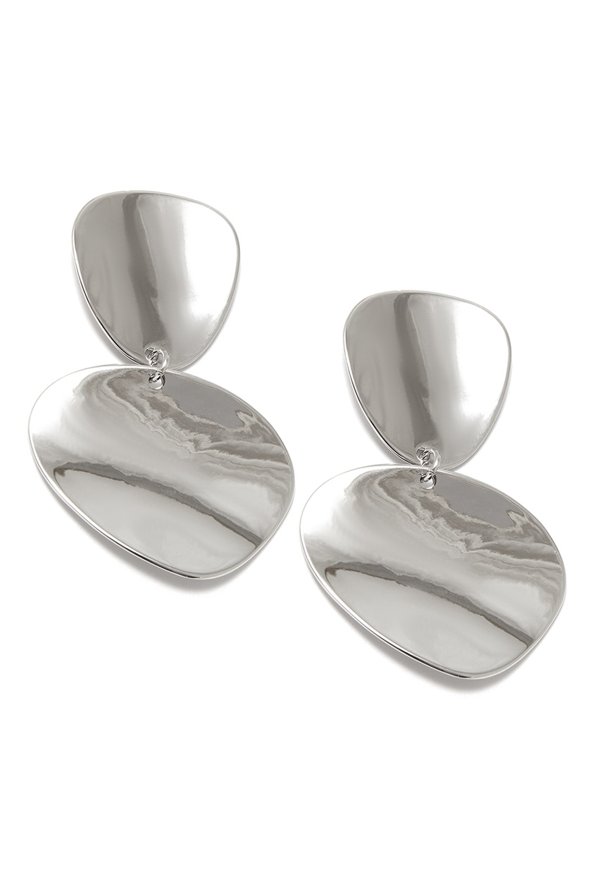 Серебристые серьги-диски