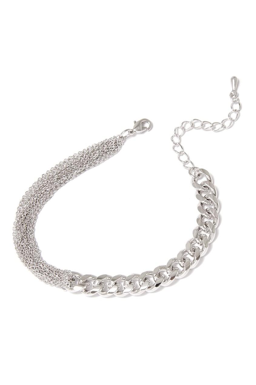 Серебристый браслет с цепочками