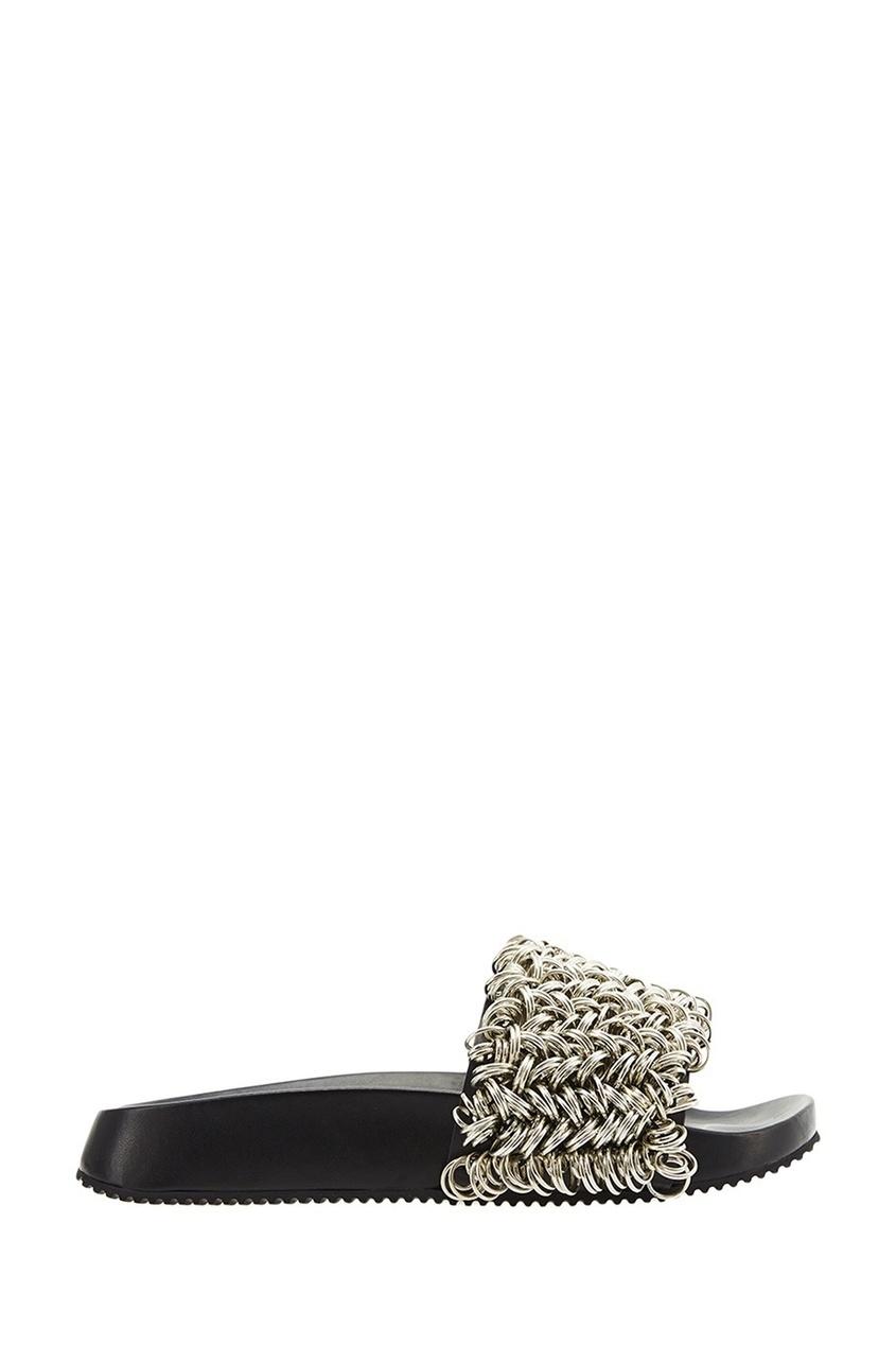 Alexander Wang Кожаные сандалии с серебристыми кольцами