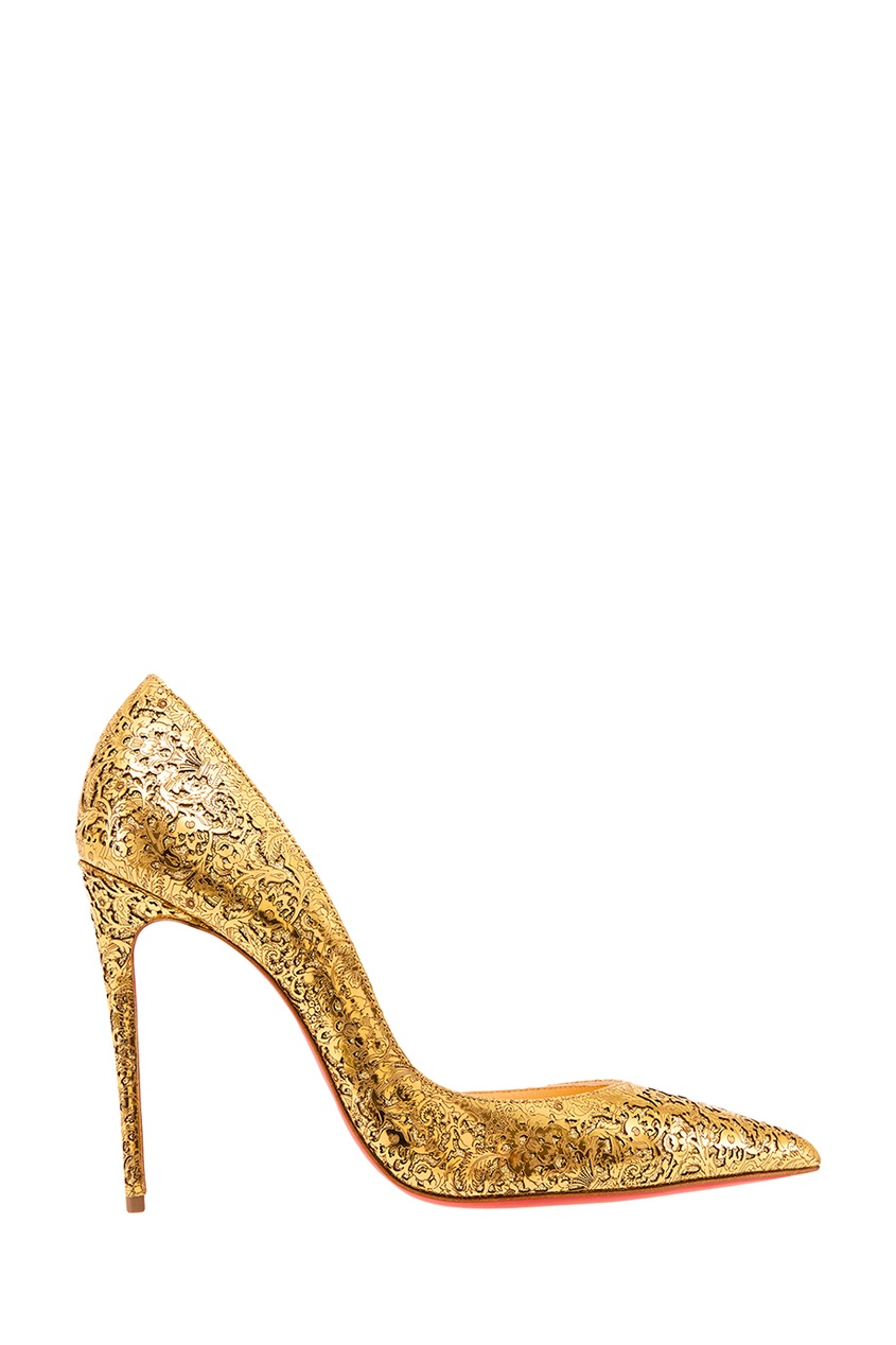 Christian Louboutin Золотистые туфли с ажурной отделкой Iriza 100