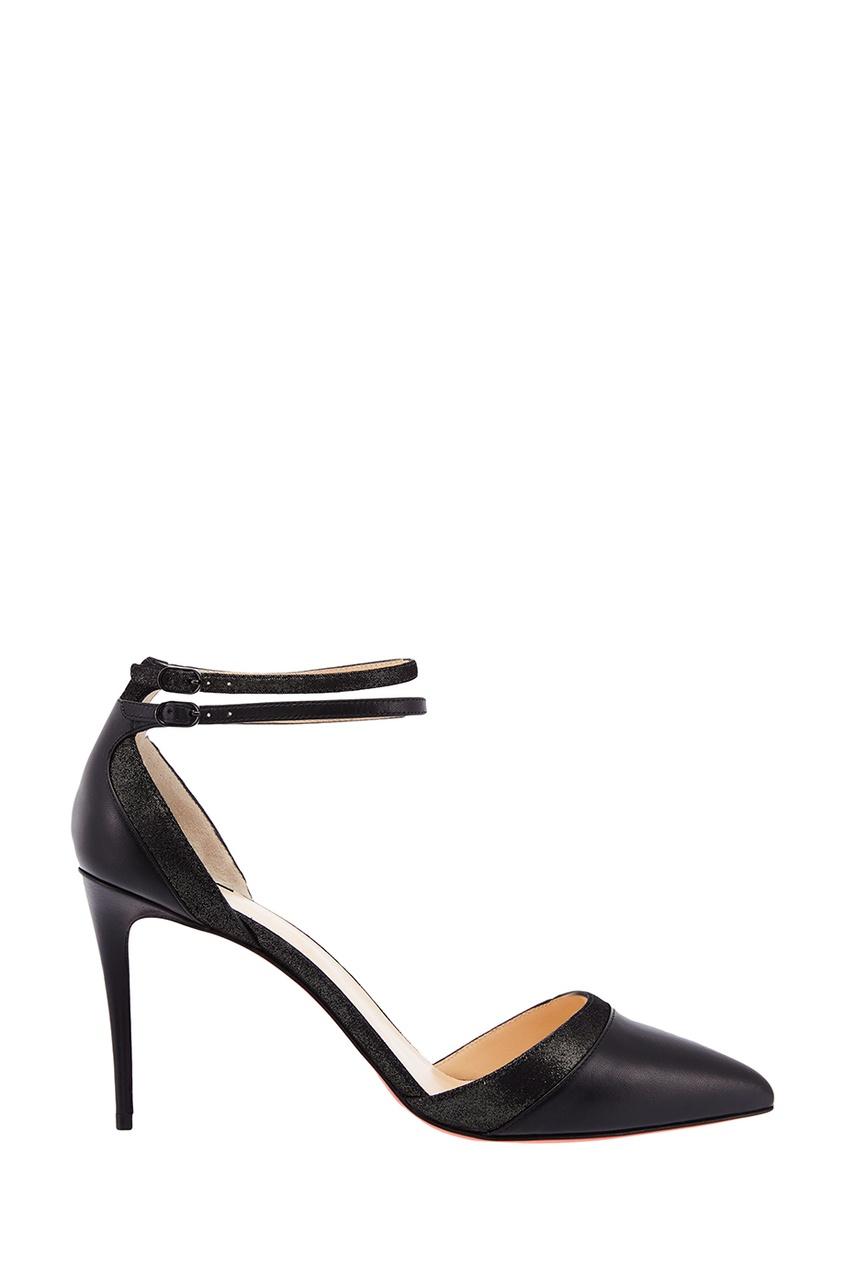 Черные туфли с блестящей отделкой Uptown Double 85 Christian Louboutin