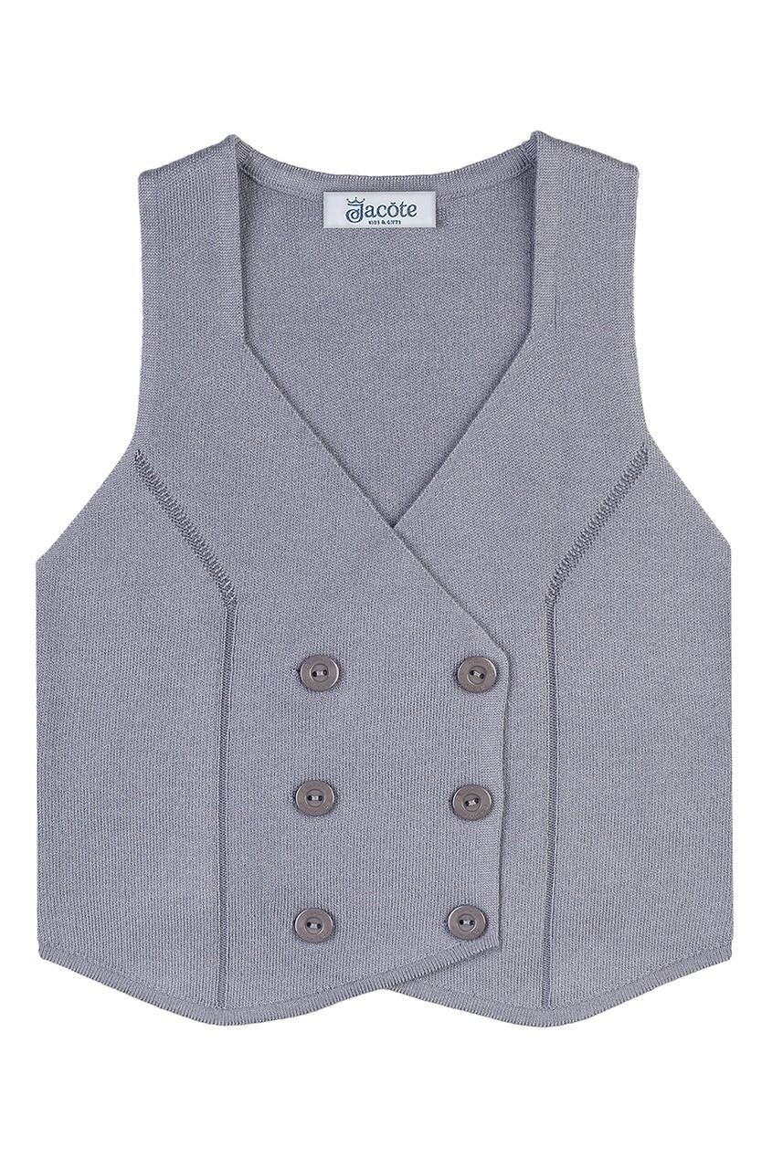 Серый двубортный жилет от Jacote