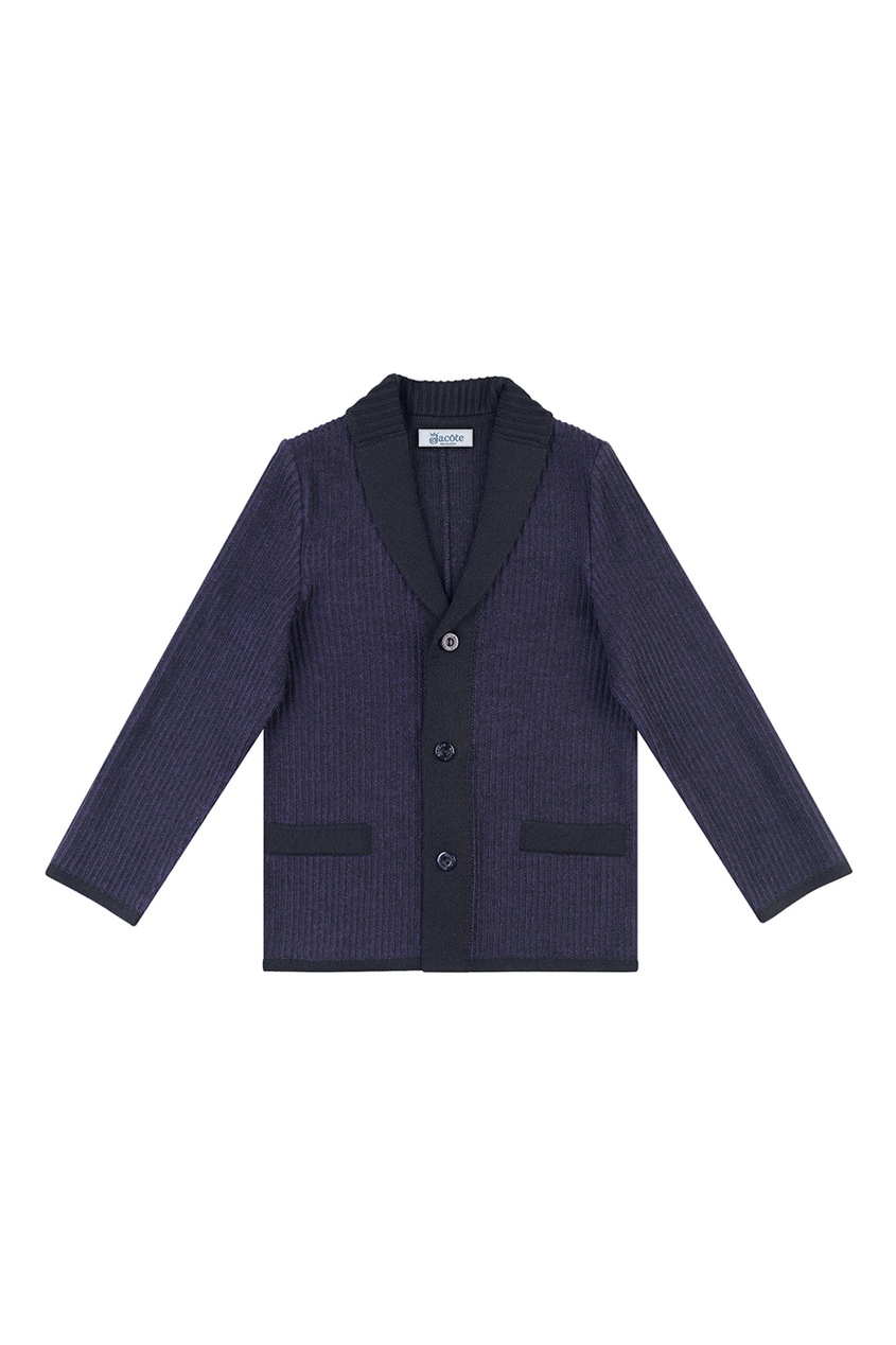 Черный пиджак из текстурированного джерси от Jacote