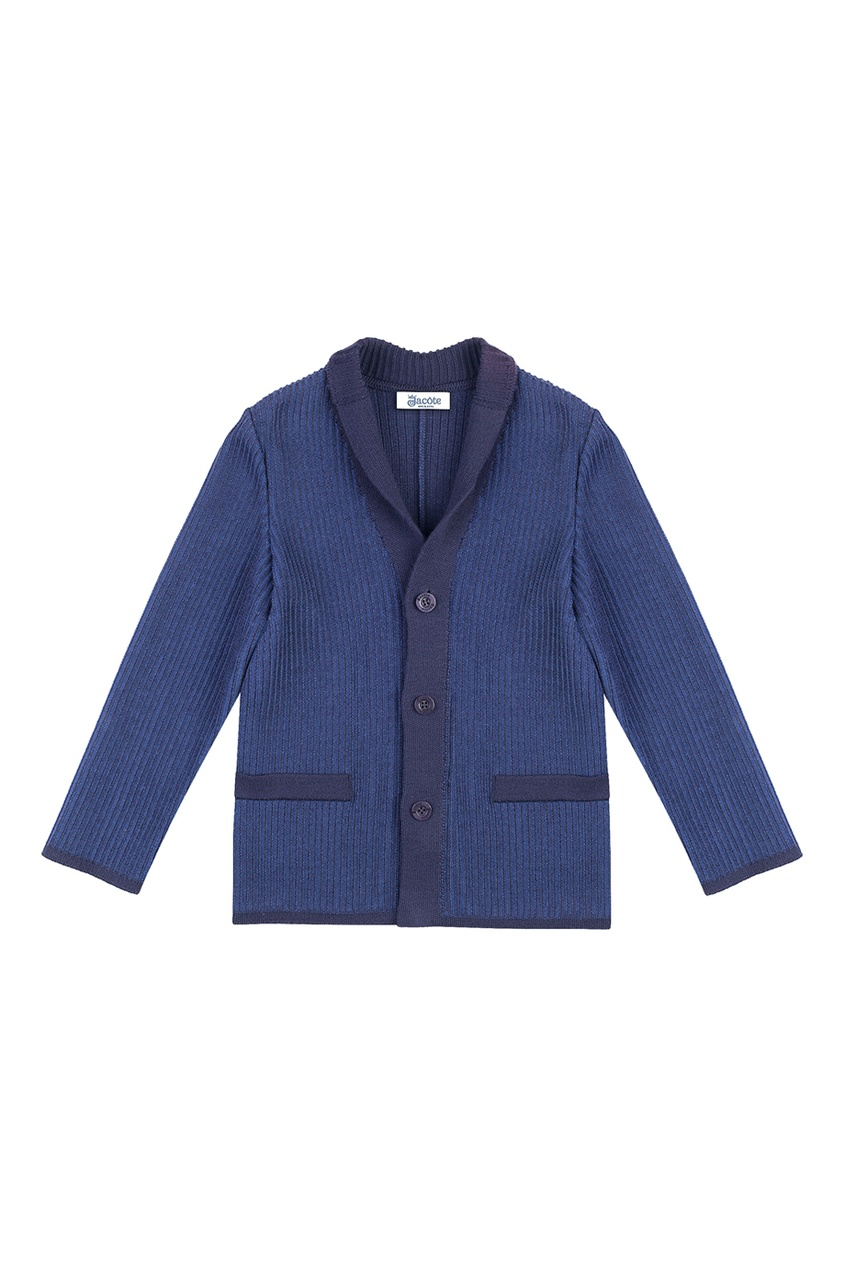 Синий пиджак из текстурированного джерси от Jacote