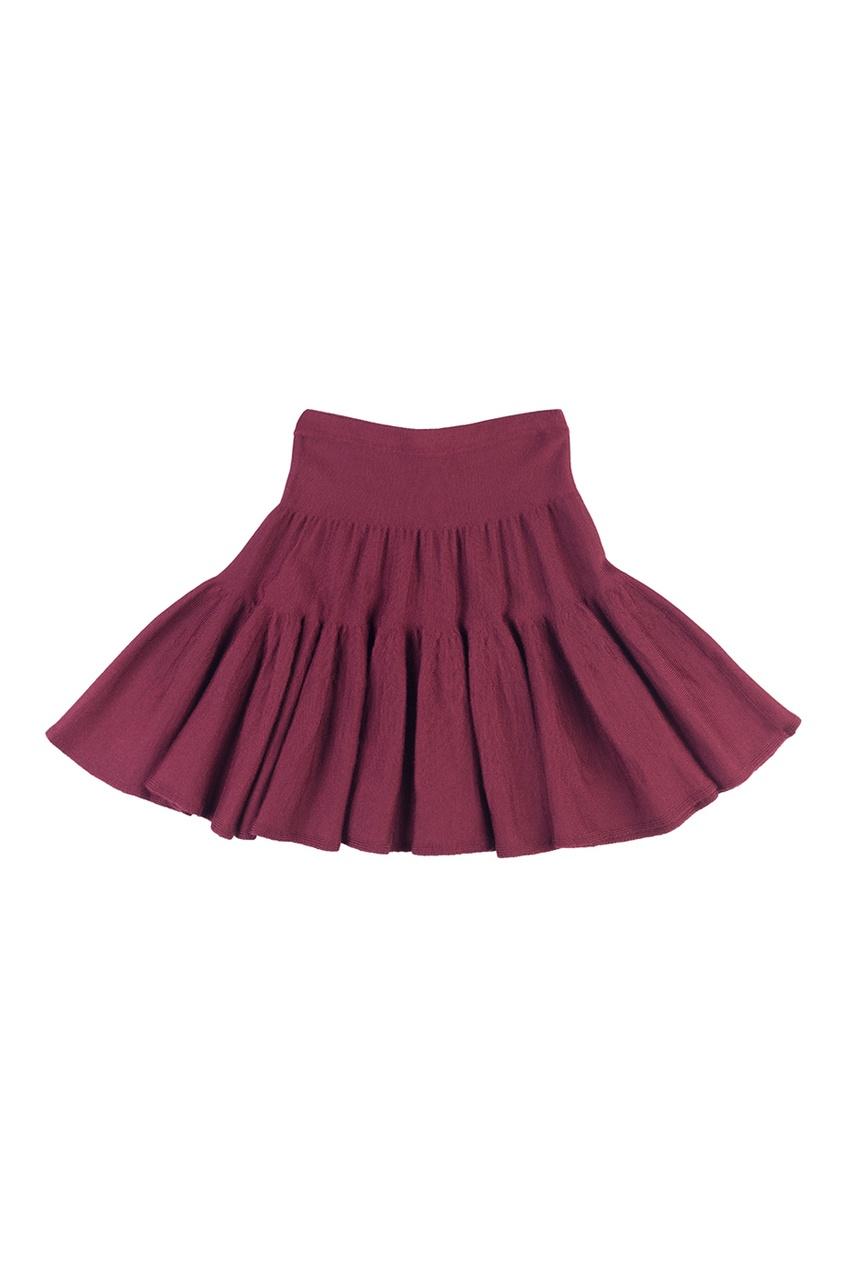 Бордовая юбка из трикотажа